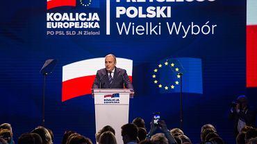 Konwencja wyborcza Koalicji Europejskiej. Przemawia Grzegorz Schetyna.