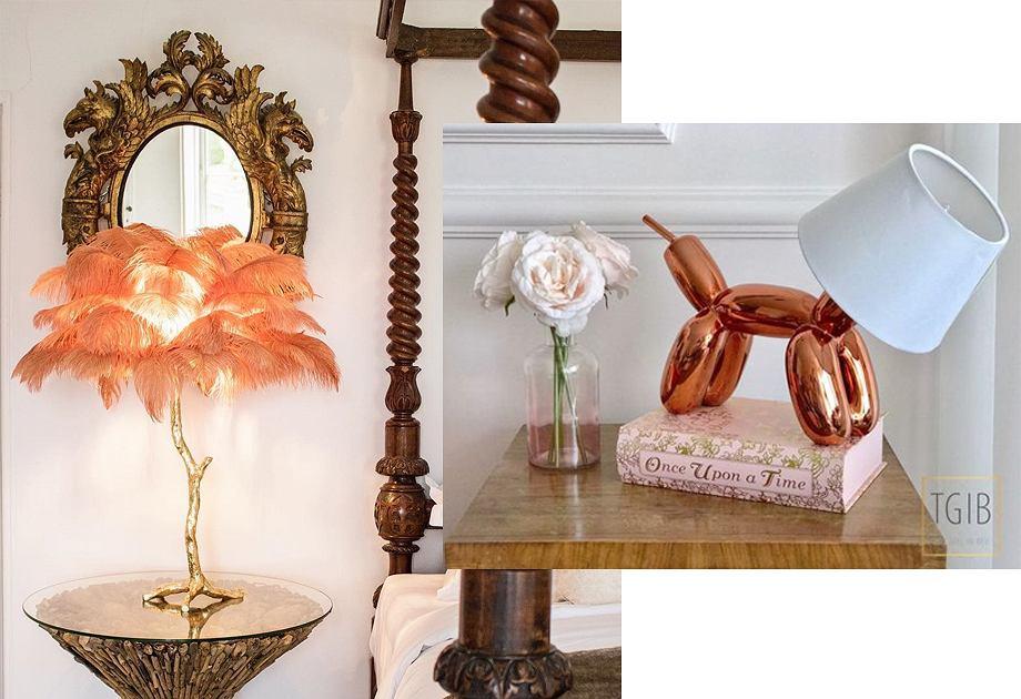 Oryginalne lampy stołowe - lampa z piórami i w kształcie psa