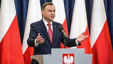 Prezydent Andrzej Duda podczas konferencji prasowej