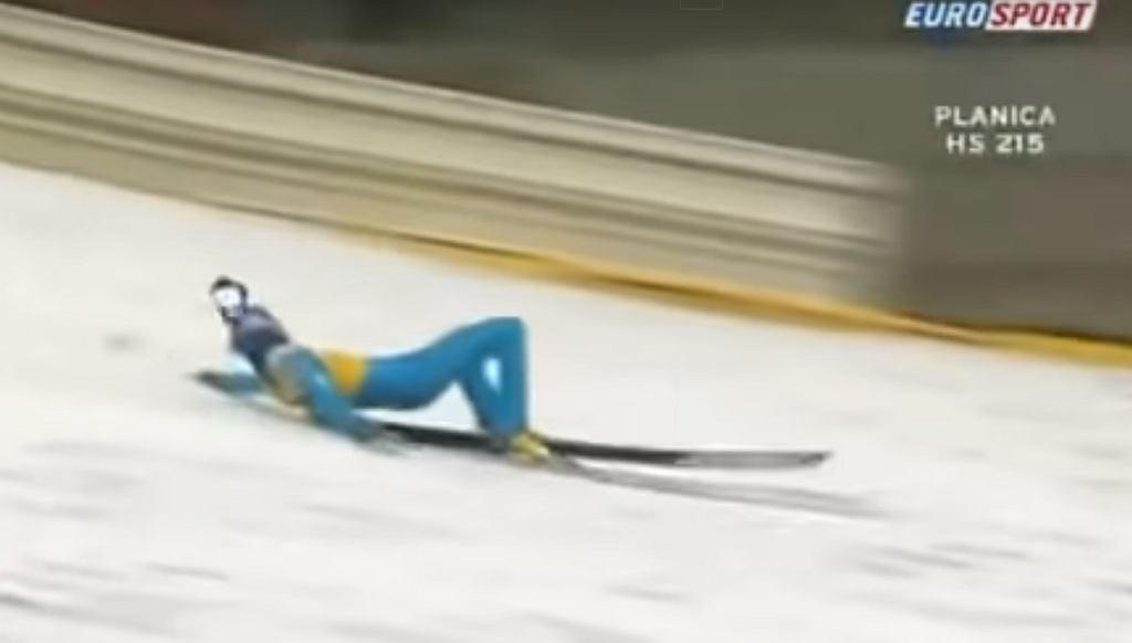Janne Ahonen, Planica 2005, upadek po skoku na odległość 240 m