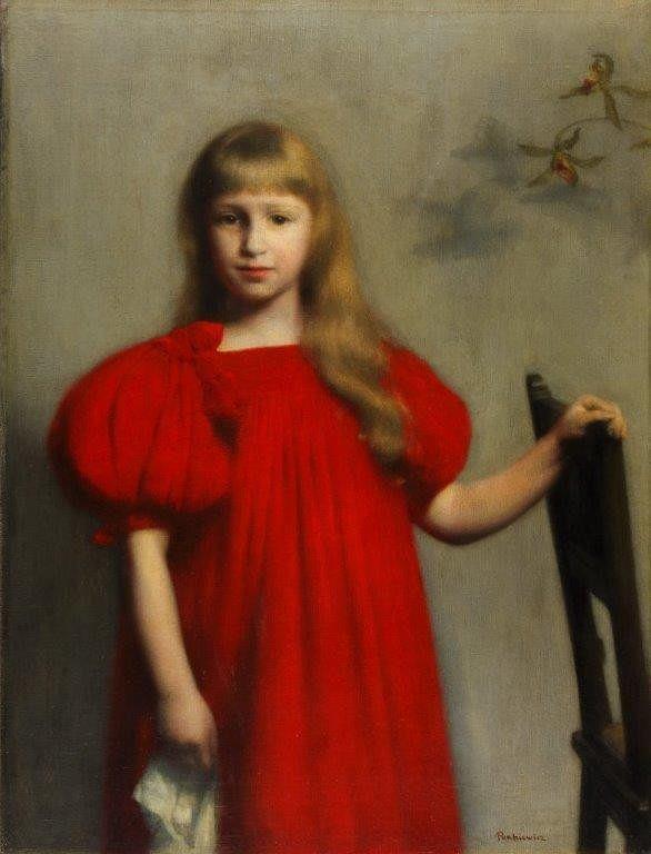 Józef Pankiewicz, Portret dziewczynki w czerwonej sukience, 1897, wł. Muzeum Narodowe w Kielcach / materiały Muzeum Narodowego w Kielcach