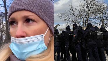 Sylwia Juszczak na spacerze w Parku Mokotowskim podczas demonstracji