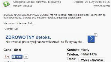 W sieci również można znaleźć ogłoszenia, w których sprzedawcy oferują dopalacze z dowozem