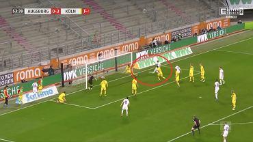 Robert Gumny (FC Augsburg) strzela pierwszego gola w Bundeslidze. Źródło: Twitter (ELEVEN SPORTS)
