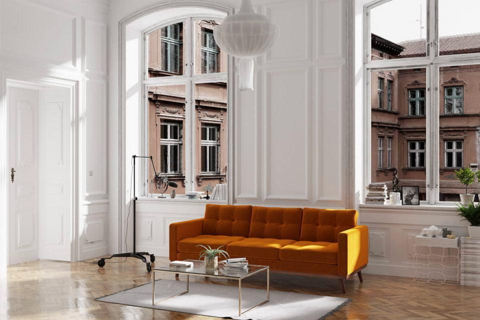 Welurowa sofa Fern o długości 223 cm.