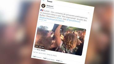 Paryż. Nielegalna impreza w parku Buttes-Chaumont