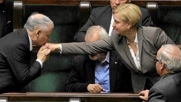 Jarosław Kaczyński i Anna Fotyga w Sejmie. Zdjęcie z listopada 2012 r.