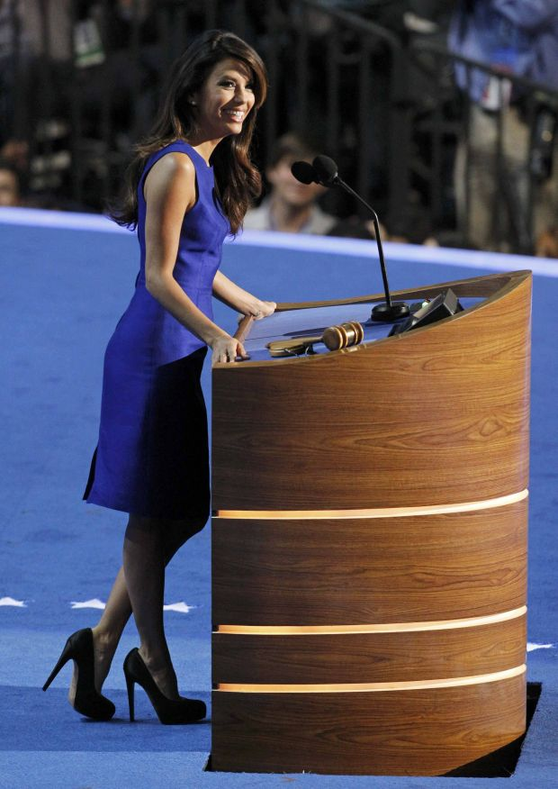 Actress Eva Longoria addresses the final session of the Democratic National Convention in Charlotte, North Carolina, September 6, 2012.  REUTERS/Jonathan Ernst (UNITED STATES  - Tags: POLITICS ELECTIONS ENTERTAINMENT)