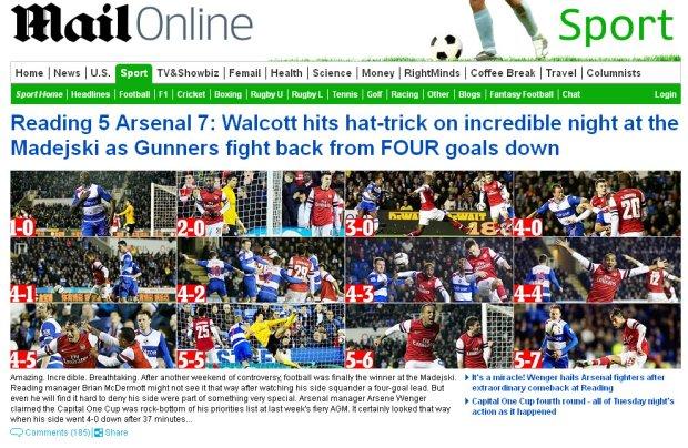 """Puchar Ligi. Brytyjskie media po horrorze w Reading: """"Gunbelievable!"""", """"Z piekła do siódmego nieba"""""""