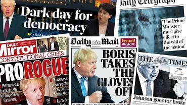 Brytyjska prasa komentuje decyzję premiera Borisa Johnsona dotyczącą zawieszenia prac parlamentu