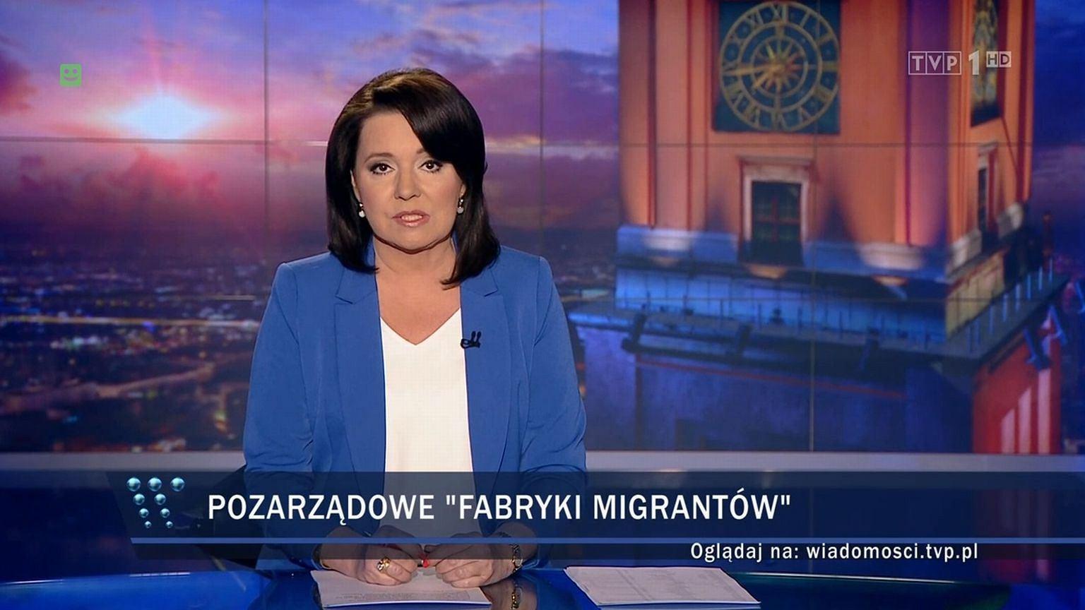 Pasek przy informacji o uchodźcach w ''Wiadomościach'' TVP