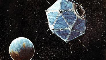 Grafika przedstawiająca satelitę Vela na orbicie