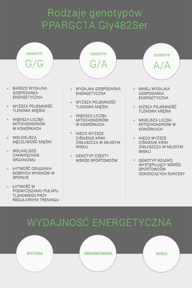 Tabela nr 2. Cechy sportowe związane z wydajnością energetyczną w zależności od genotypu PPARGC1A Gly482Ser.