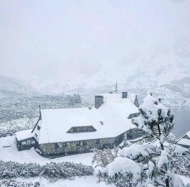 """Śnieg w Tatrach. Schronisko w Dolinie Pięciu Stawów podzieliło się zdjęciem. """"No i mamy..."""""""