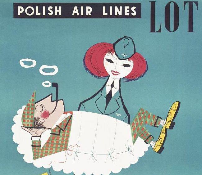 Plakat promocyjny LOT-u; Jerzy Srokowski; 1956 r.