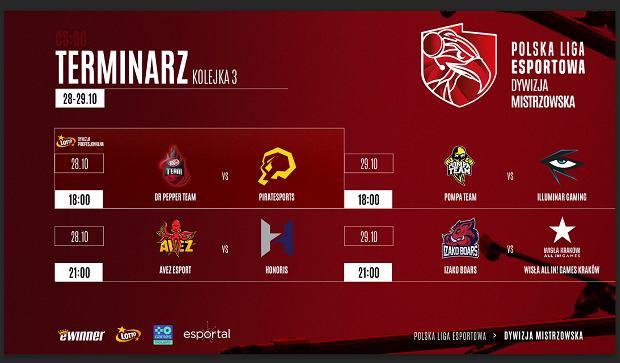 Terminarz trzeciej kolejki Polskiej Ligi Esportowej.