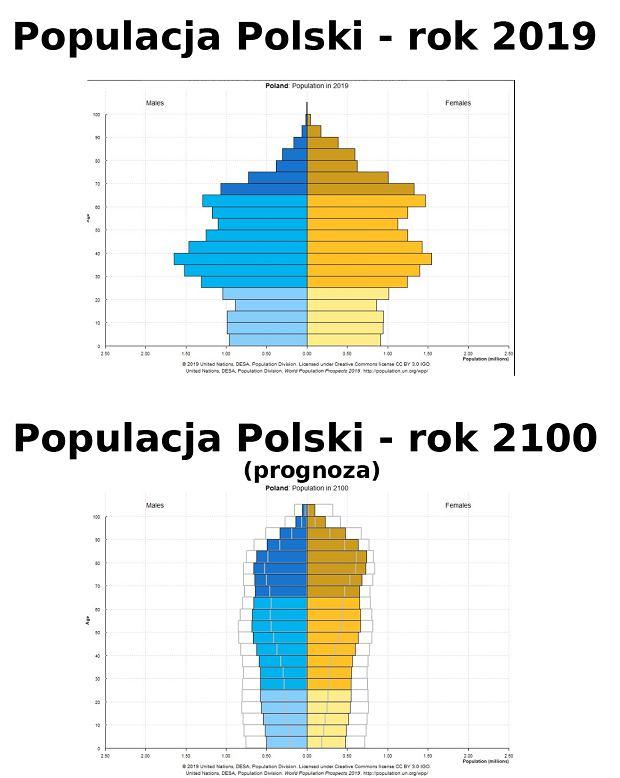 Struktura populacji Polski - rok 2019 i 2100 (prognoza)