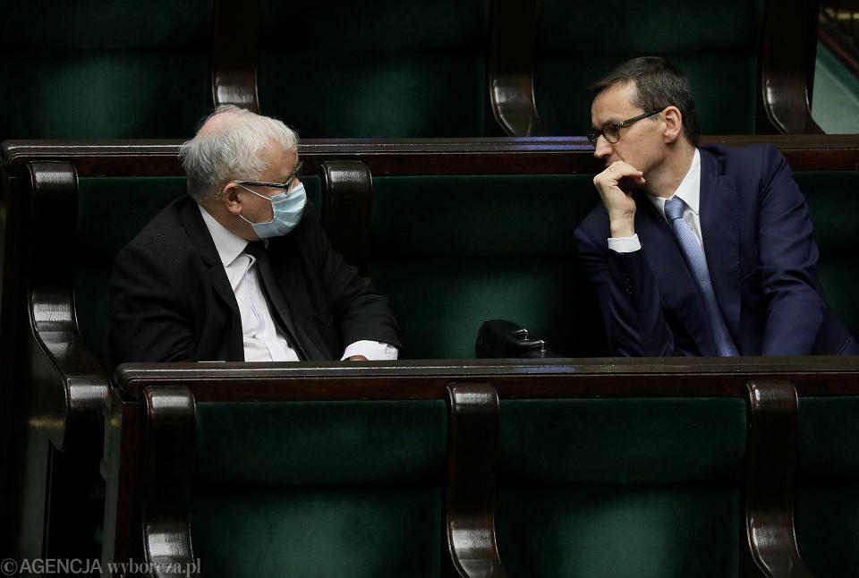Wicepremier Jarosław Kaczynski i premier Mateusz Morawiecki w Sejmie
