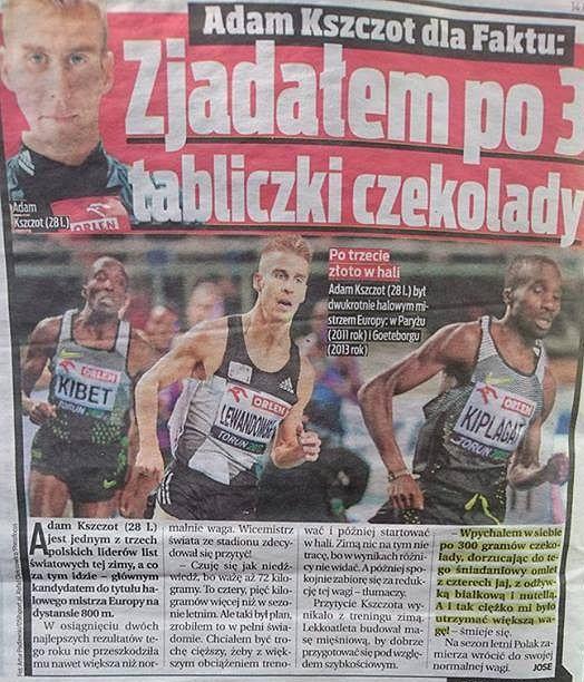 Fakt pomylił Adama Kszczota z Marcinem Lewandowskim.