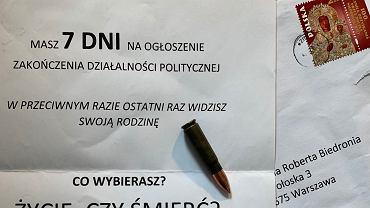 Robert Biedroń otrzymał list z pogróżkami