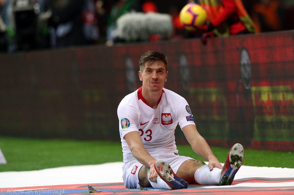 Krzysztof Piątek podczas meczu eliminacji Mistrzostw Europy Polska - Łotwa