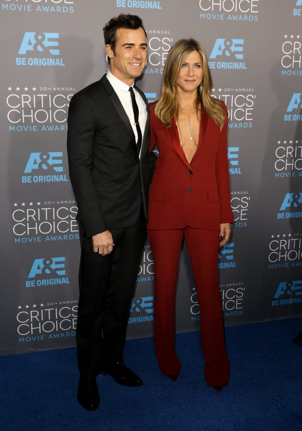 Justin Theroux, left, and Jennifer Aniston arrive at the 20th annual Critics' Choice Movie Awards at the Hollywood Palladium on Thursday, Jan. 15, 2015, in Los Angeles. (Photo by Matt Sayles/Invision/AP)