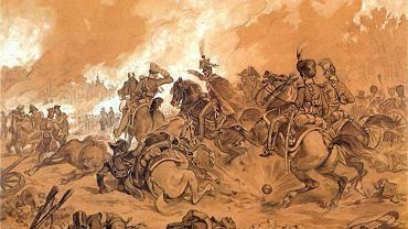 'Bitwa pod Raszynem', szkic Juliusza Kossaka z 1884 r. Na obrazach przedstawiających starcie wojsk Księstwa Warszawskiego z Austriakami 19 kwietnia 1809 r. książę Józef Poniatowski najczęściej przedstawiany jest na koniu, ale do legendy przeszedł, idąc na czele piechurów z fajką w zębach do ataku na bagnety.