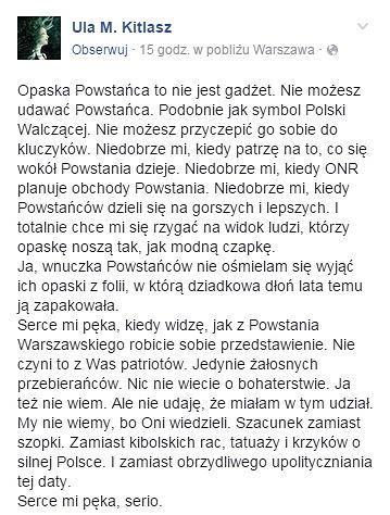 Ula M. Kitlasz, wnuczka powstańców warszawskich.