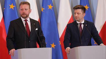 Konferencja prasowa w Kancelarii Prezesa Rady Ministrów w Warszawie na temat koronawirusa