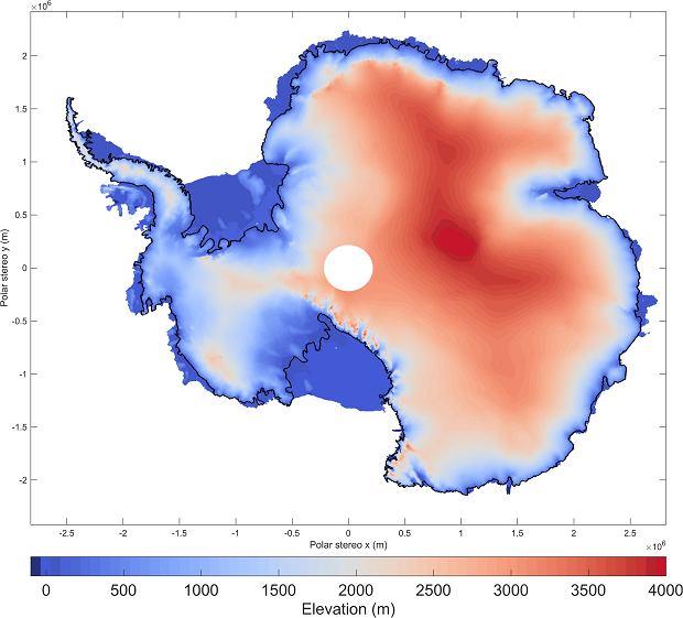 Radarowa mapa wysokości czapy lodowej na Antarktydzie.