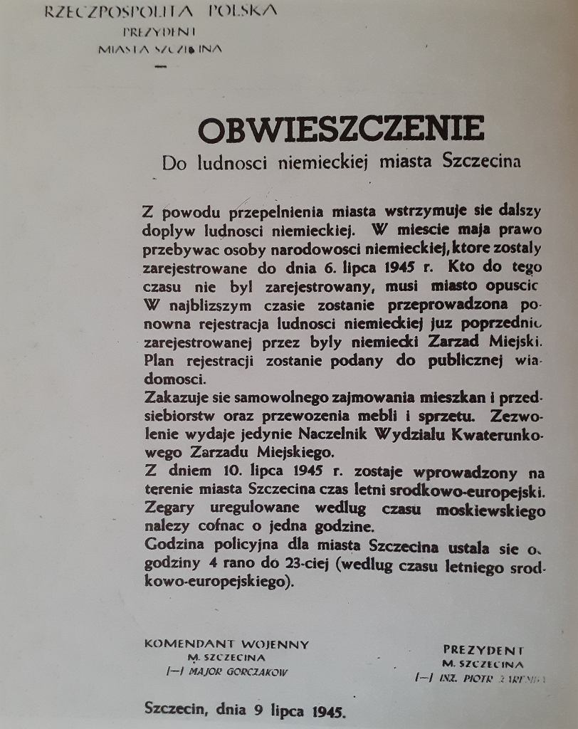 Obwieszczenie dla Niemców  wydrukowane bez polskiej czcionki,  której w drukarni nie było