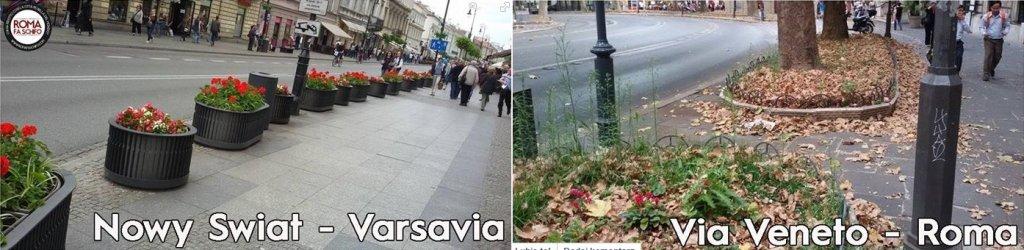 Włoski plac Via Veneto i Nowy Świat w Warszawie