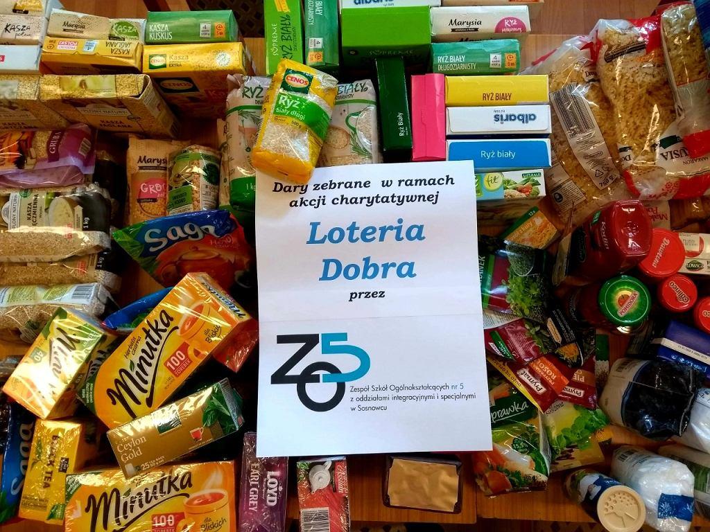 Produkty zebrane dzięki akcji ZSO nr 5 Sosnowcu