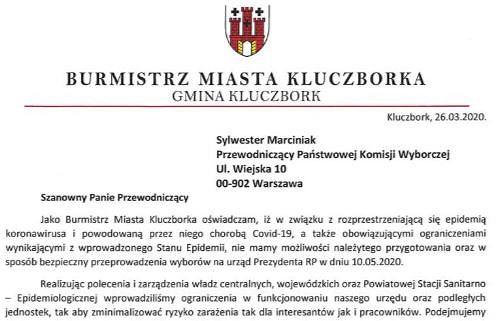 Burmistrz Kluczborka zaapelował o przesunięcie terminu wyborów prezydenckich