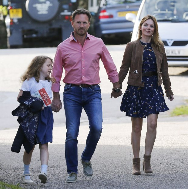 Bluebell Halliwell, Christian Horner, Geri Halliwell, August 06, 2015  No web / digital / online usages permitted until 5pm 8/8/15 GMT  Singer and former Spice Girl Geri Halliwell is seen enjoying a day out with her husband, Formula One boss Christian Horner; and her nine year-old daughter Bluebell in Cornwall. The trio were more than likely celebrating Geris forty-second birthday today. She married Christian in May after dating him since last February. EXCLUSIVE WORLDWIDE RIGHTS Pictures by : FameFlynet UK  2015 Tel : 44 (0)20 3551 5049 Email : infofameflynet.uk.com