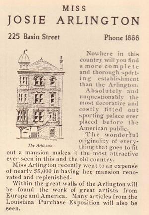sztuka kochania, erotyka, Historia burdeli, Jeden z najbardziej luksusowych domów publicznych w Nowym Orleanie należał do Josie Arlington
