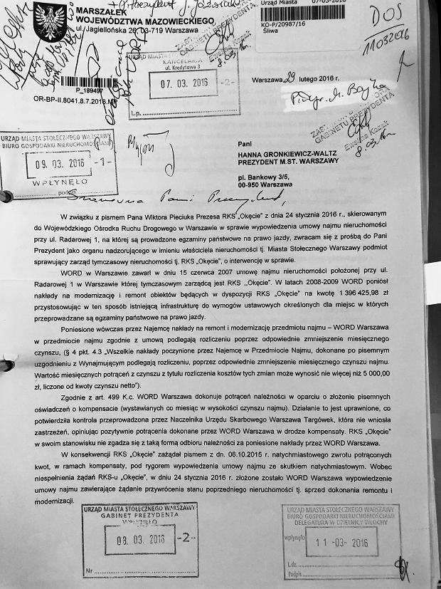 Pismo prezesa WORD do Hanny Gronkiewicz-Waltz