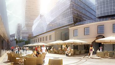 Kompleks biurowo-apartamentowy z wieżowcami na działce Impexmetalu