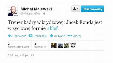 Jeden z twittów dotyczących wypowiedzi prof. Rońdy