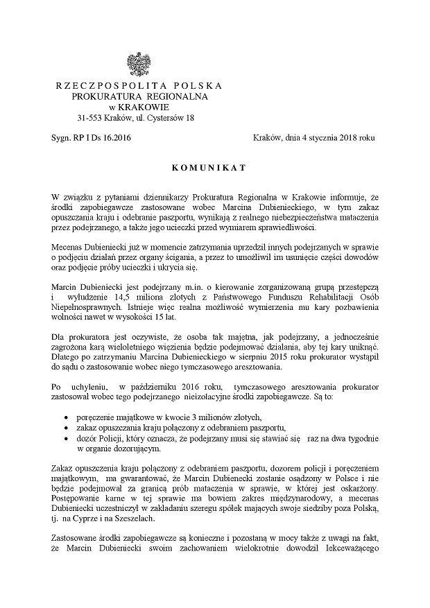 Oświadczenie prokuratury ws. Dubienieckiego (str.1)