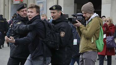 Roman Protasewicz na demonstracji w Mińsku, 26.03.2017