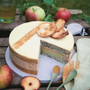 Tort makowy z masą jabłkową zkremem cynamonowym