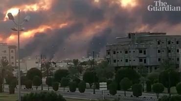Ogromne straty po ataku dronami na rafinerie naftowe w Arabii Saudyjskiej / Fot. Guardian News. YouTube