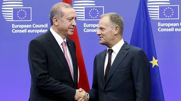 Recep Tayyip Erdogan podczas spotkania z Donaldem Tuskiem w Brukseli