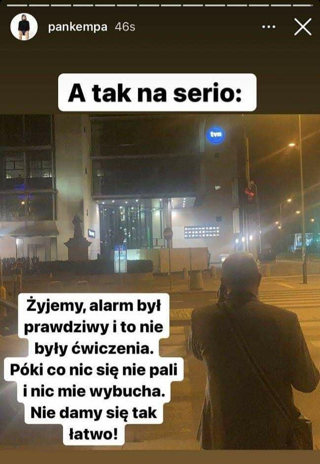 Michał Kempa ewakuowany z budynku TVN