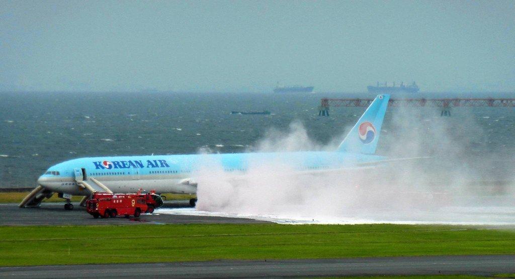 Dym wydobywał się z lewego silnika samolotu