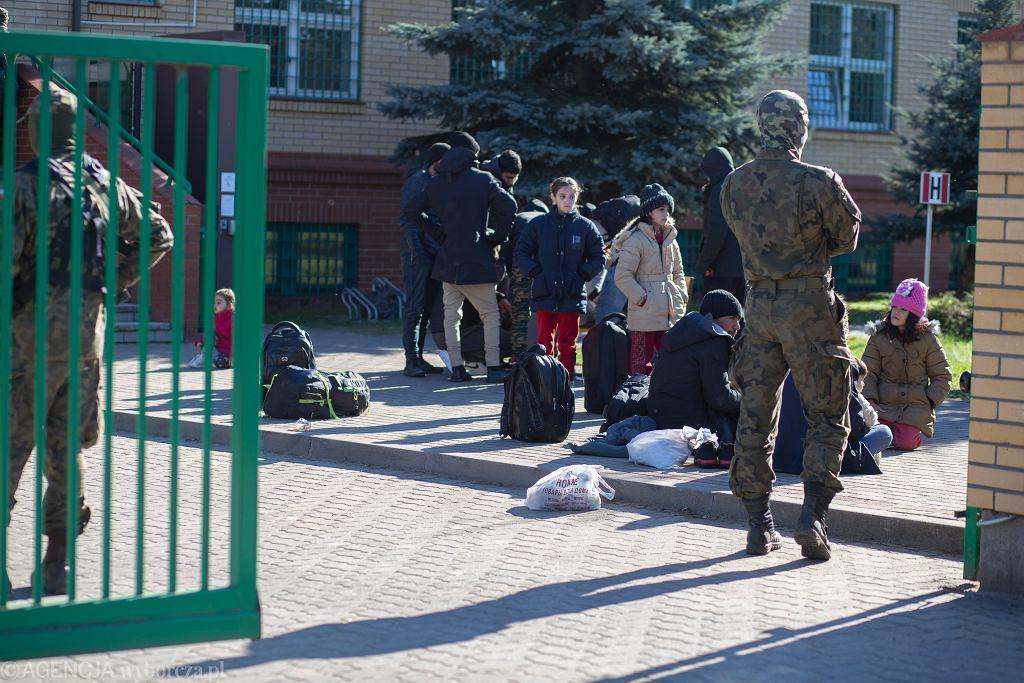 Migranci przed strażnicą w Michałowie