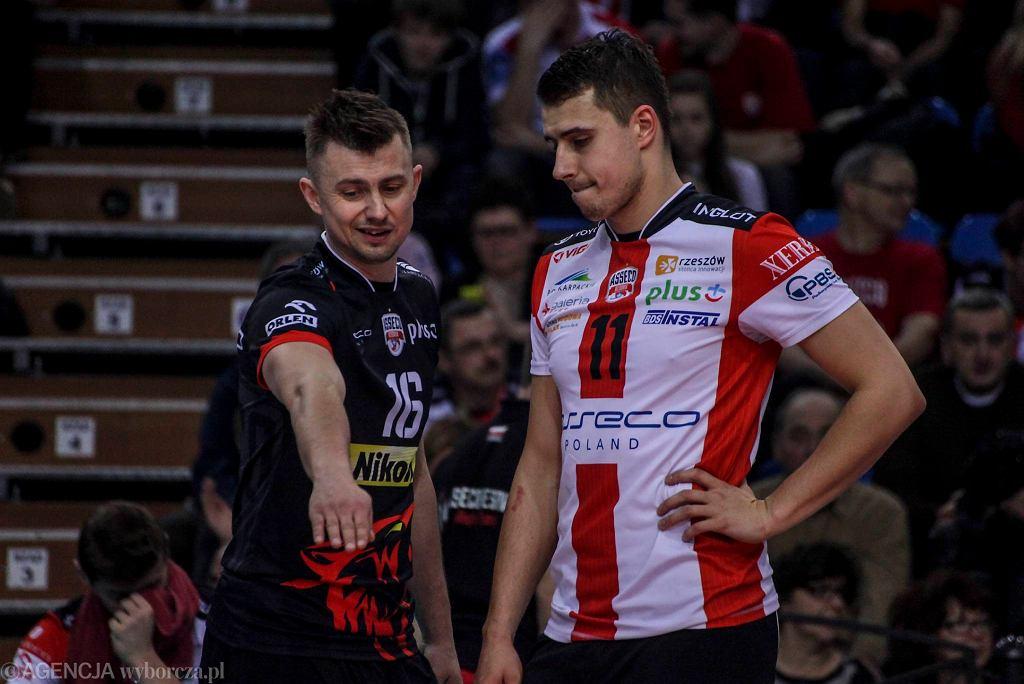 Krzysztof Ignaczak i Fabian Drzyzga w meczu Asseco Resovii z AZS-em Politechniką Warszawską (3:1)