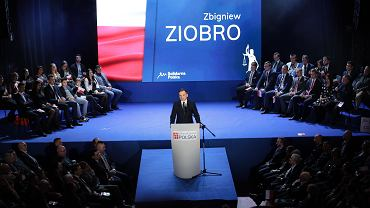Minister sprawiedliwości i prokurator generalny w rządzie PiS Zbigniew Ziobro podczas konwencji swojej partii 'Solidarna Polska' ( pod hasłem: 'Sprawiedliwa Polska'). Warszawa, 8 lutego 2020