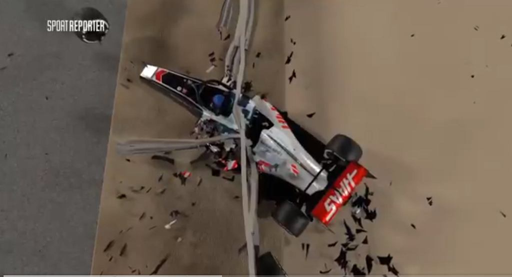 Animacja z wypadku Romaina Grosjeana w Bahrajnie